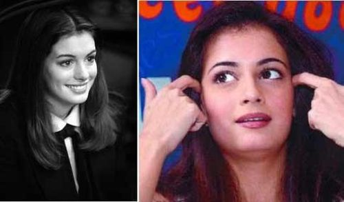 Anne Hathaway and Diya Mirza doppelganger
