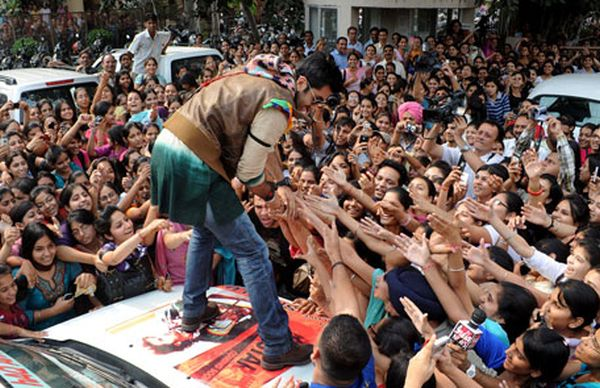 Bollywood celebrity in crowd