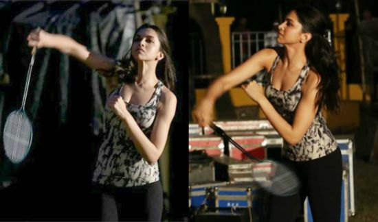 Deepika Padukone playing badminton