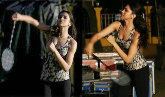 Deepika Padukone playing badminton
