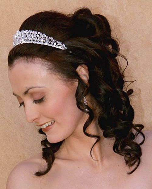 Half Up Down Wedding Hairstyle With Tiara