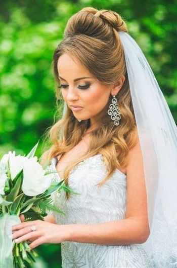 37 half up half down wedding hairstyles anyone would love half up half down wedding hairstyles with veil junglespirit