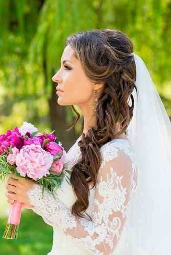 Half up half down wedding hairstyles with flower 2016