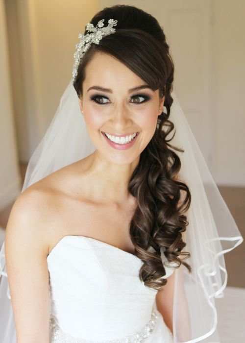 Bride in half up half down hairstyle