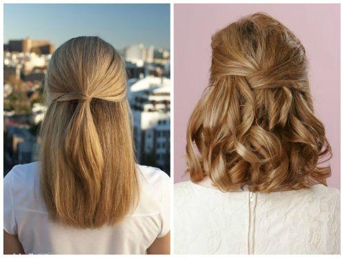 half up half down medium length hairstyle