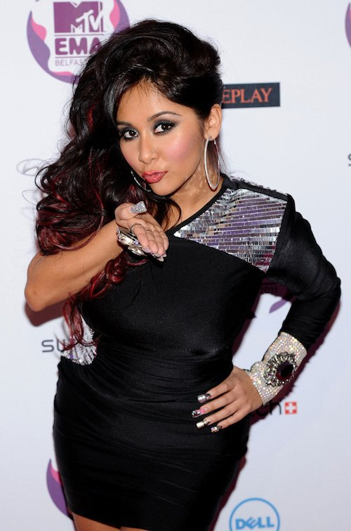 BELFAST, NORTHERN IRELAND - NOVEMBER 06: Snooki of Jersey Shore attends the MTV Europe Music Awards 2011 at the Odyssey Arena on November 6, 2011 in Belfast, Northern Ireland. (Photo by Ian Gavan/Getty Images)