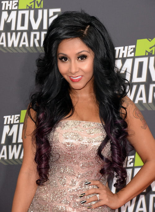 "CULVER CITY, CA - APRIL 14: TV personality Nicole ""Snooki""' Polizzi arrives at the 2013 MTV Movie Awards at Sony Pictures Studios on April 14, 2013 in Culver City, California. (Photo by Jason Merritt/Getty Images)"
