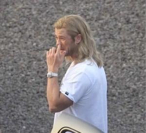 Chris Hemsworth picking nose