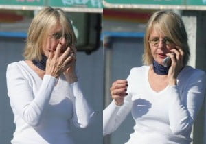 Diane Keaton picking nose