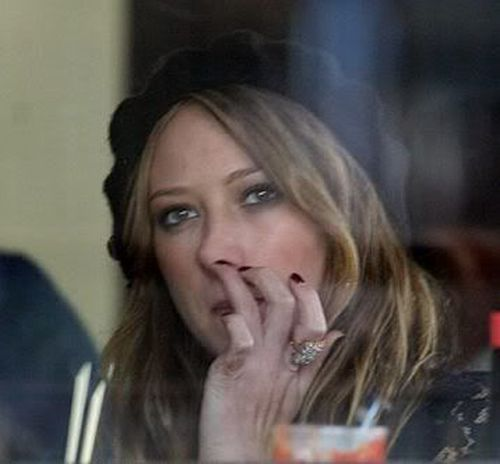 Hillary Duff picking nose