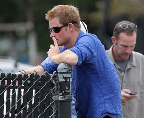 Prince Harry picking nose