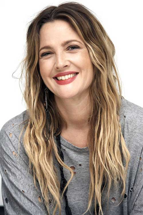 messy waves drew barrymore