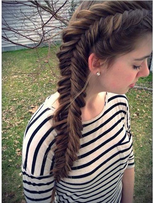 reverse fishtail braid