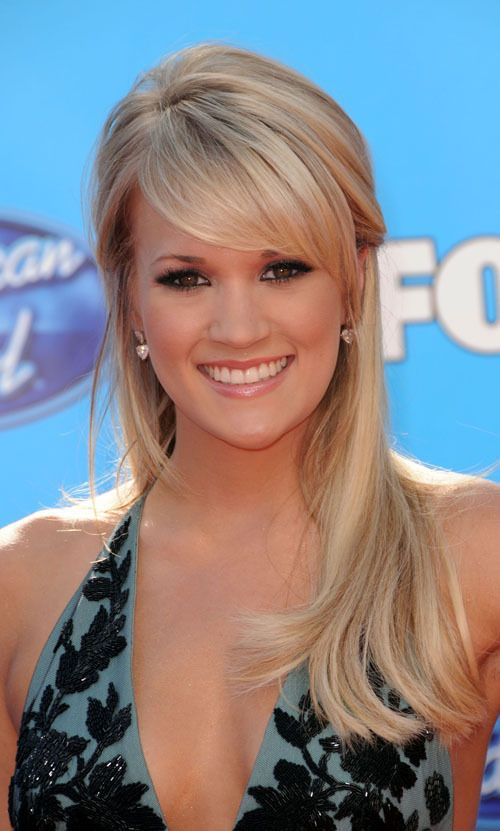uneven side swept bangs carrie underwood