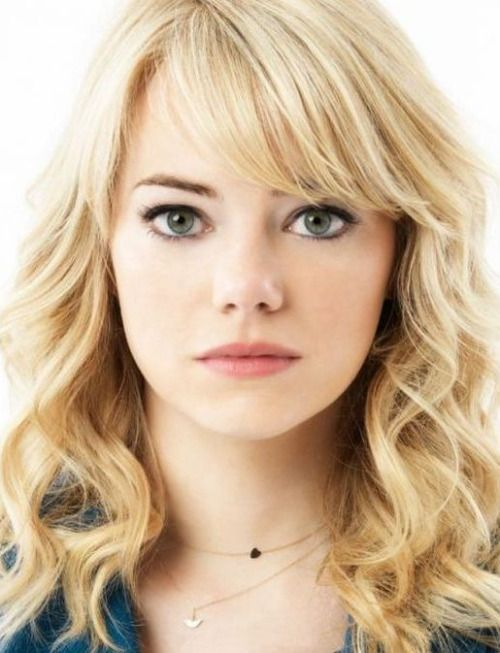 uneven side swept bangs emma stone