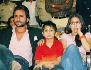 Saif Ali Khan with his son & daughter - Ibrahim & Sara