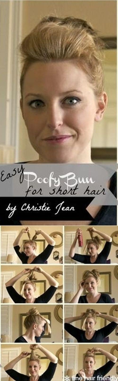 Easy Poofy Bun for Short Hair