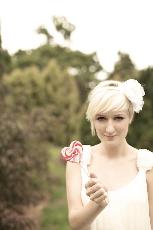 long growing pixie bangs blonde hair wedding