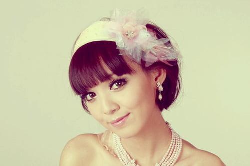 headband style bangs wedding hair