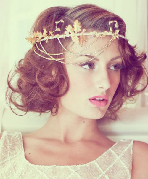 short curly gold accessory wedding hair