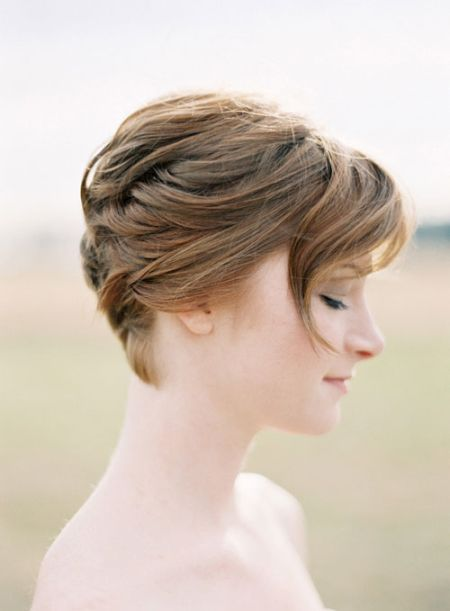 sideswept short hair braid bridal hair