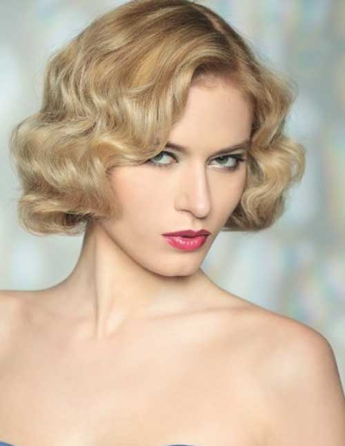 side parted retro waves short hair