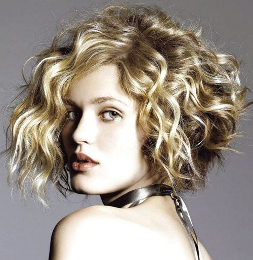 Blonde Curly Chin Length Bob