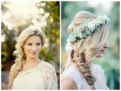 Cute Side Swept Floral Braid