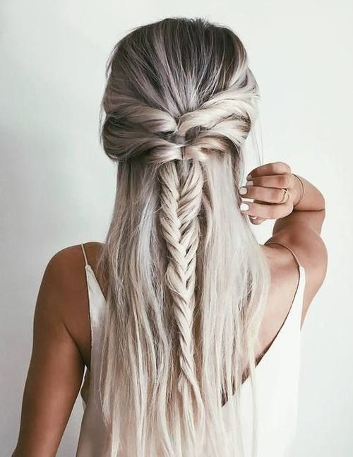 Fishtail Half Updo Hairstyle