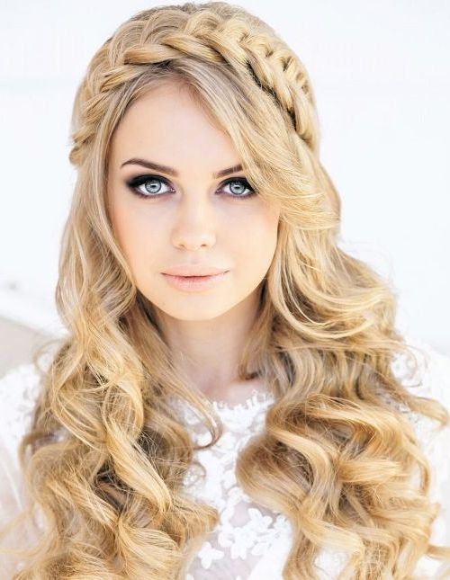 Headband Braid Curly Hairstyle