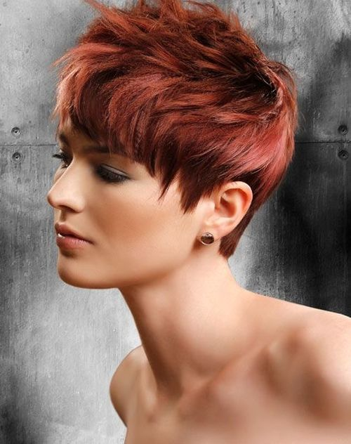 Red short hair with layers and textures