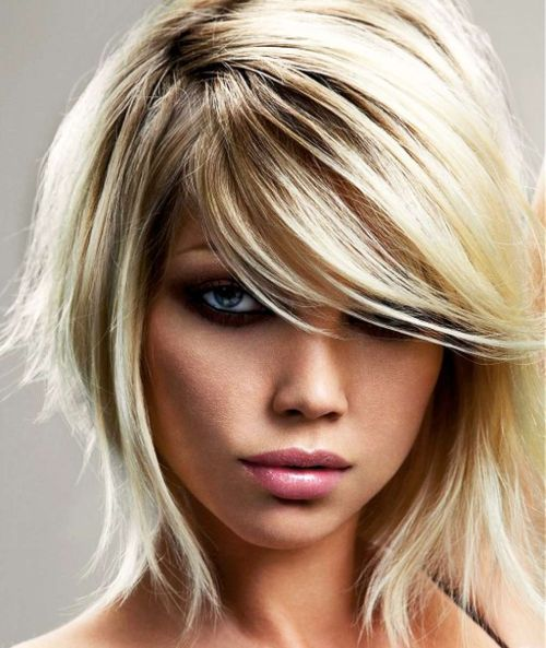 Short Side Swept Shag Hairstyle