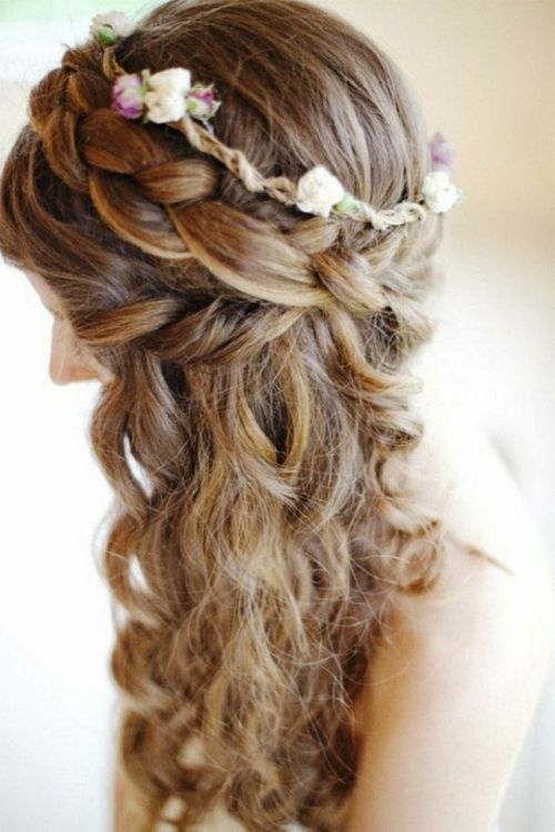 Side Cascading Curls with Braid