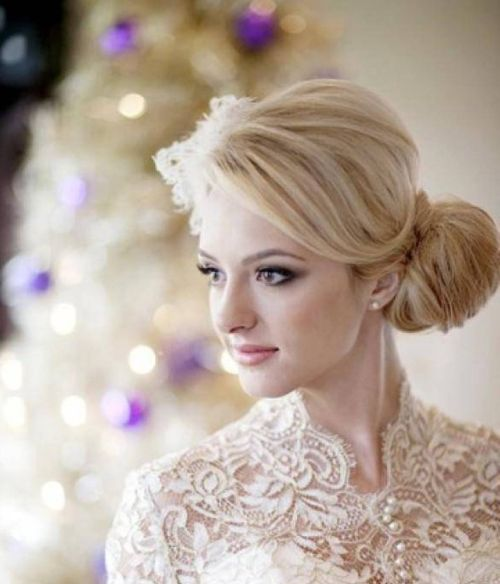 Side Swept Blonde Updo