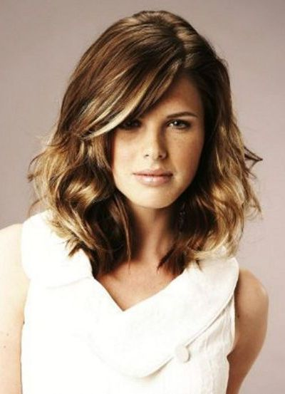 Side Swept Curls Medium Length