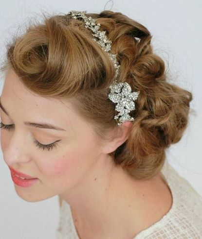Updo for Curly Hair and Headband