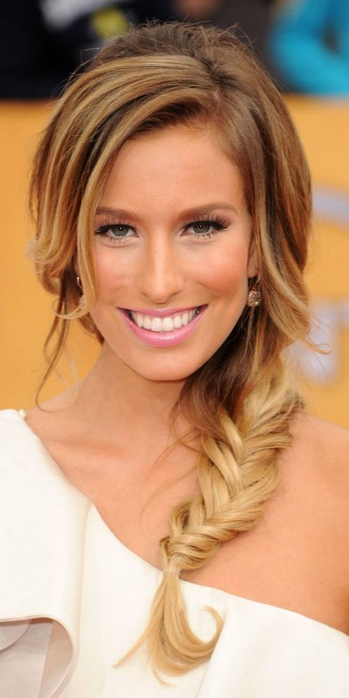 Fishtail side braid with bangs