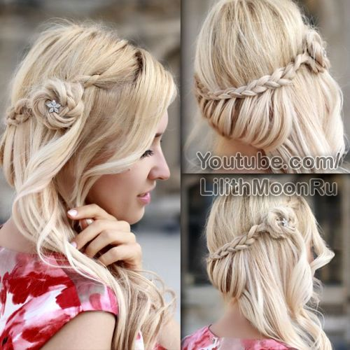 Roses in a side braid