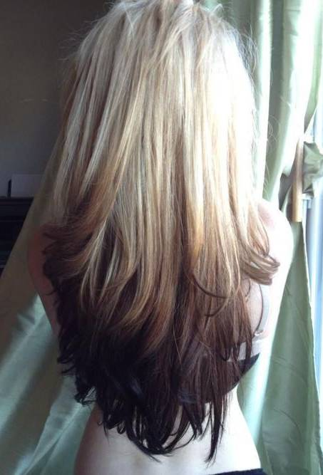 Blonde to dark brown ombre for long thick hair