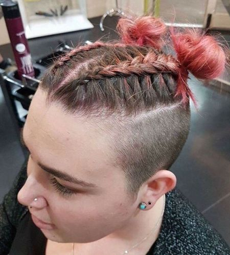 360 undercut and braided buns