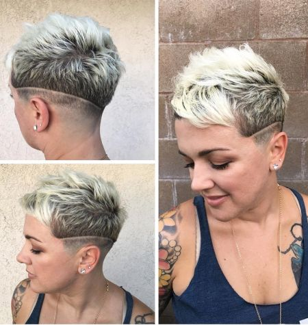 Bald fade pixie haircut with surgical line