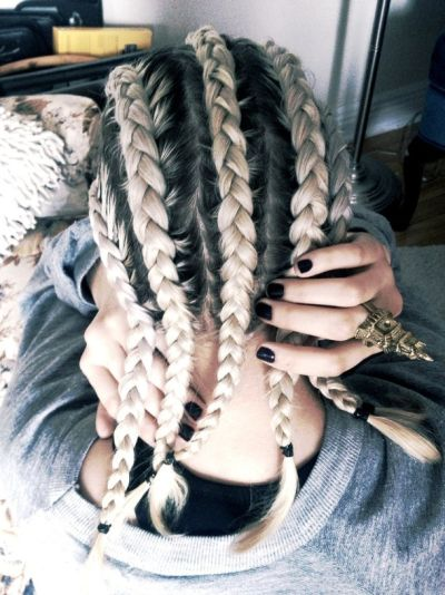 black and blonde braids