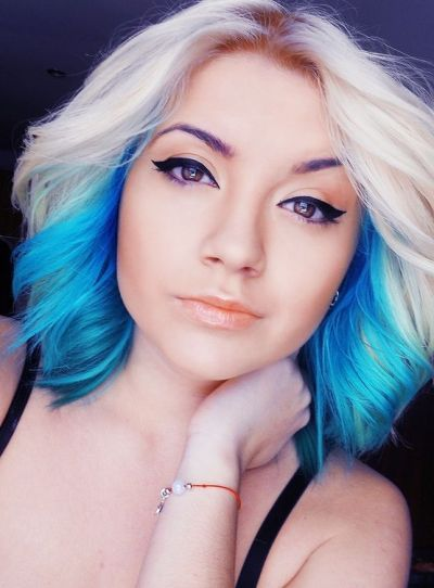 Blonde and blue ombre hair idea