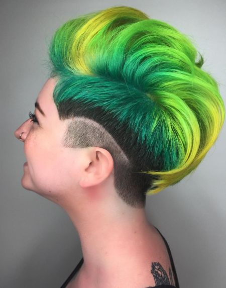 Bright green unicorn hair