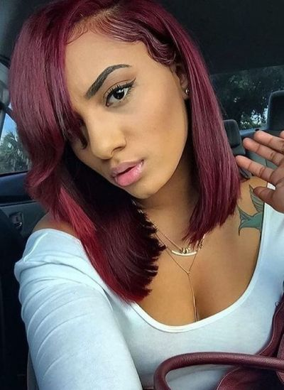 Burgundy hair color on a simple straight bob hairstyle
