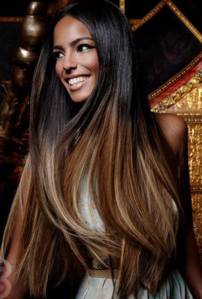 Hair color for olive skin 36 cool hair color ideas to look trendy caramel blonde highlights on black hair pmusecretfo Choice Image