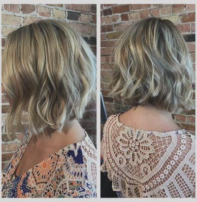 Choppy blonde bob with beach waves