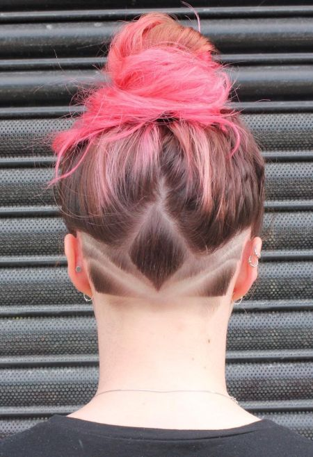 Cute undercut pink ombre hairstyle