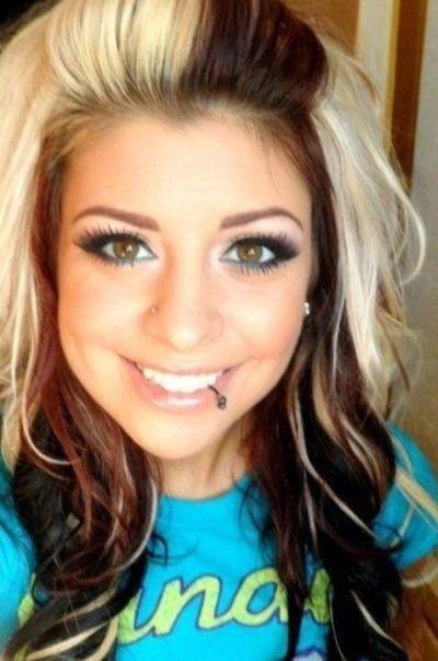 Dark brown hair with light blonde streaks