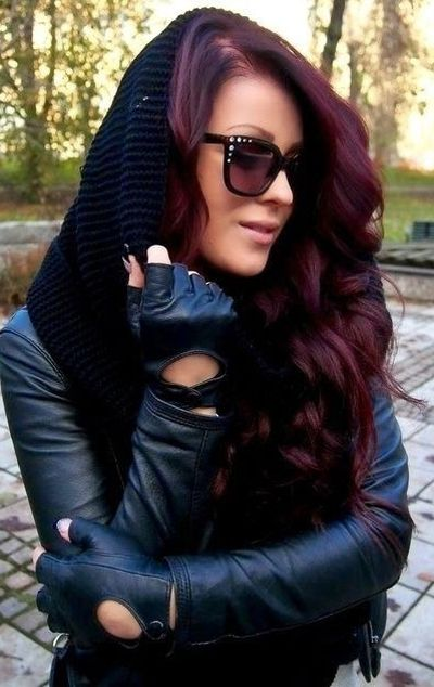 Dark red hair color for olive skin